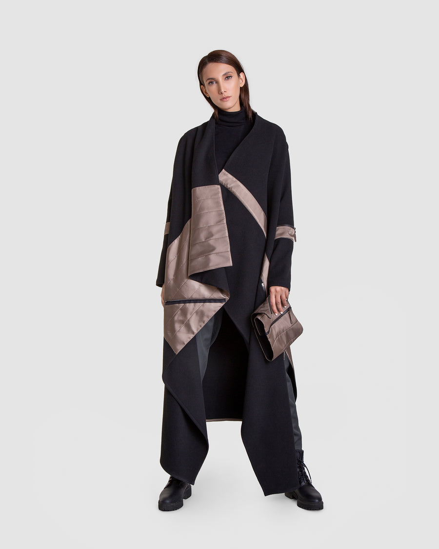 Deconstructed Satin And Wool Tall Coat