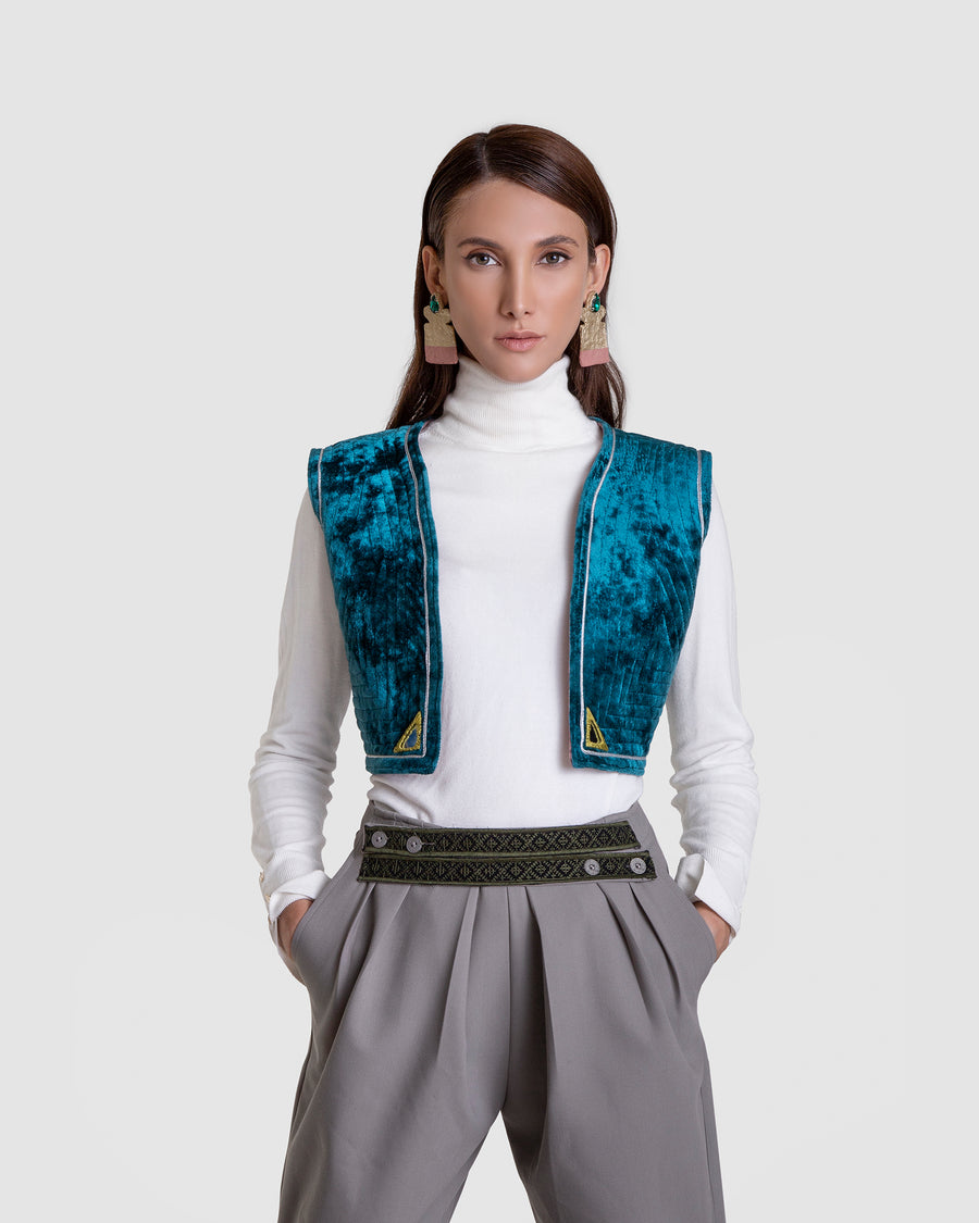 Shimmering Quilted Vest Mirror Detail