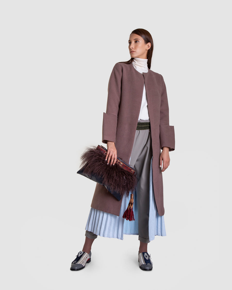 Double Layer Pleat Tall Coat