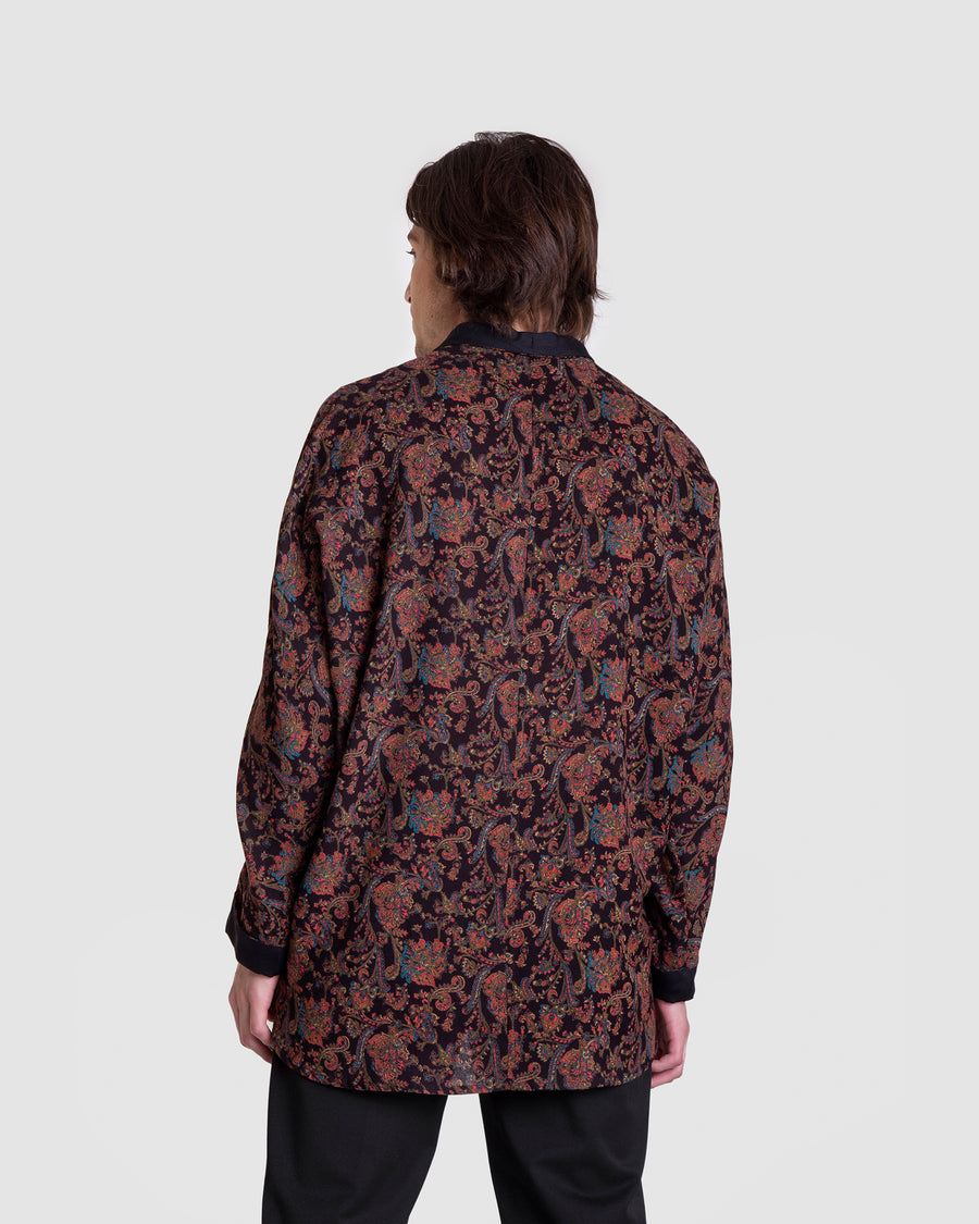 Extended Loose Longline Paisley Shirt