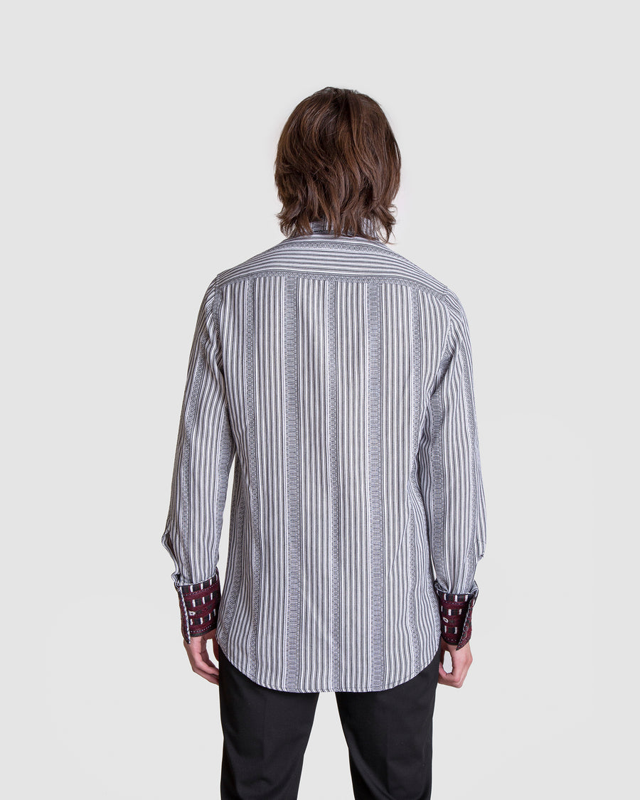 Washed-Out Embroidery Patch Striped Shirt