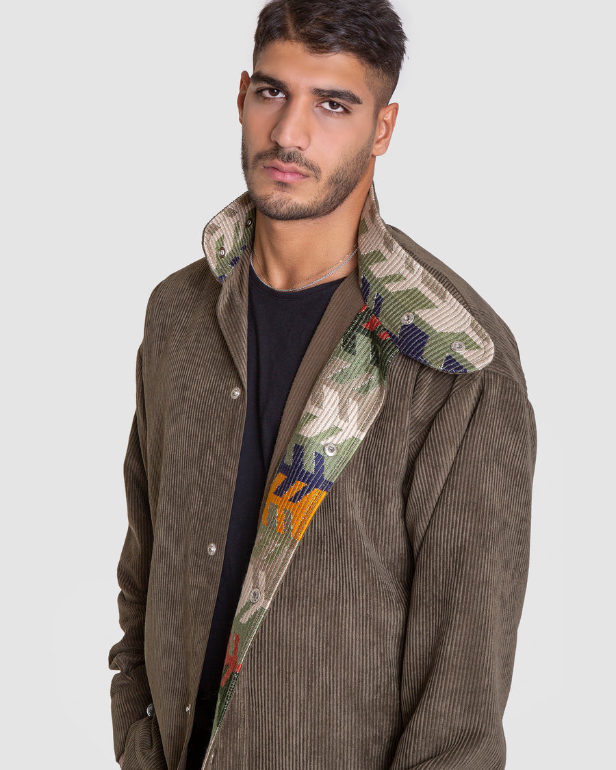 Carefree Cord Patterend Green Jacket
