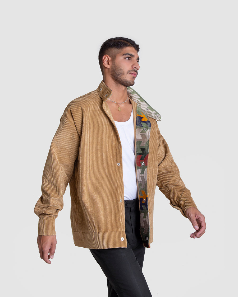 Carefree Cord Patterend Beige Jacket