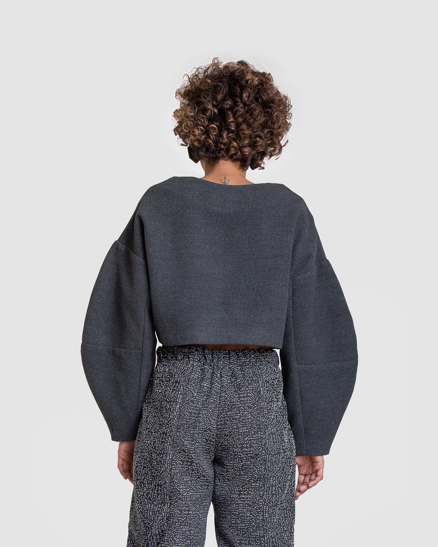 Cropped Jumper With Columned Sleeves