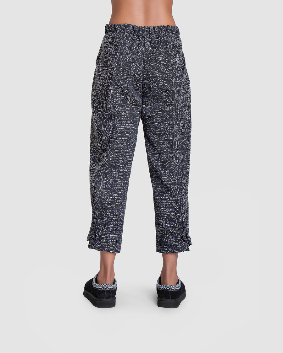 Black Drizzled Loose Harem Trousers