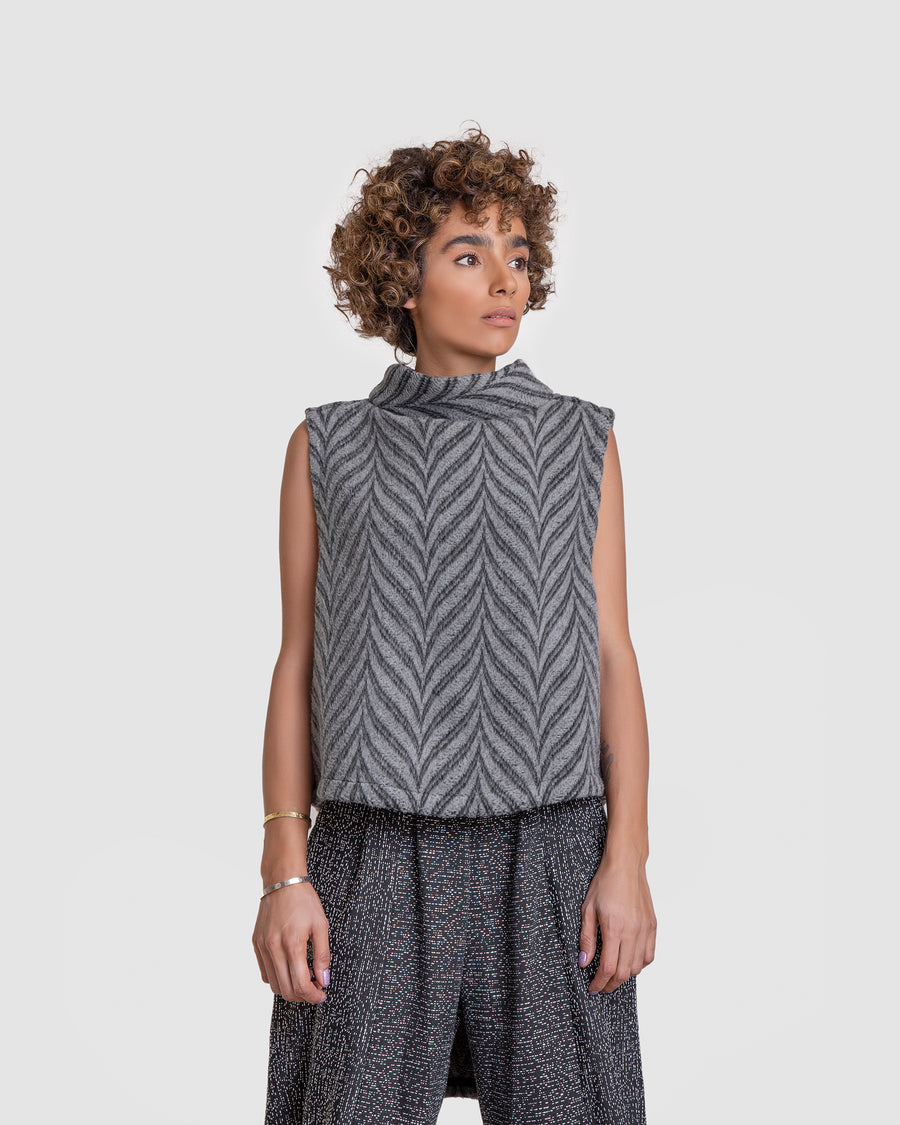 Chevron Cowl Neck Adjustable Vest