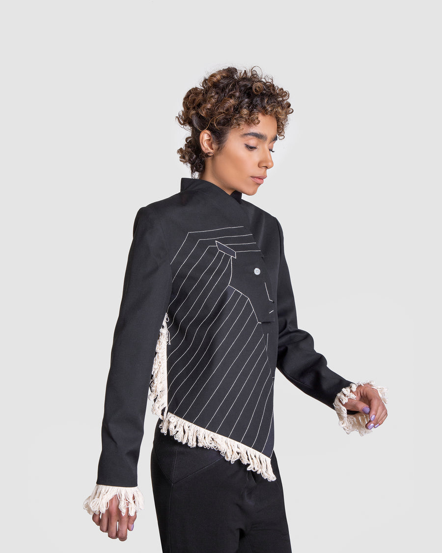 Asymmetrical Hand-Woven Fringe Lion Coat