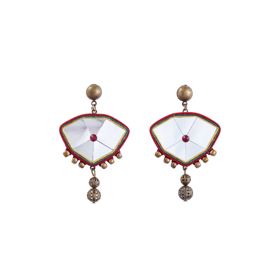 Red Golestan Mirror Drop Earrings
