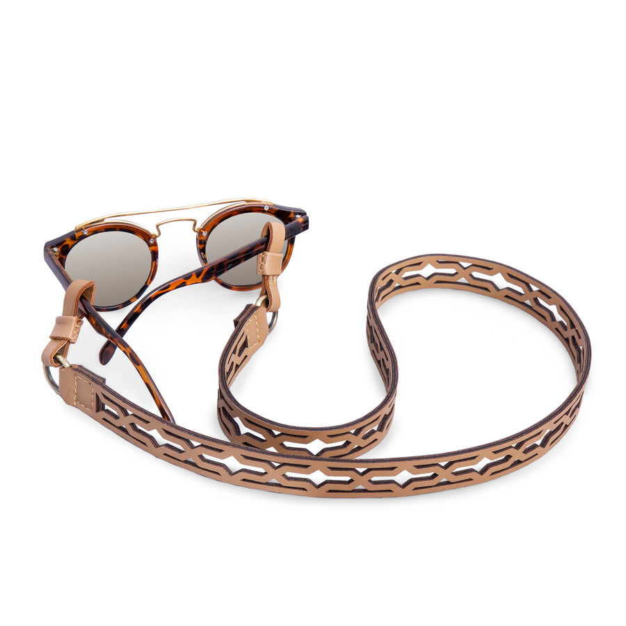 UNISEX Cream Laser Cut V Sunglasses & Masks Strap