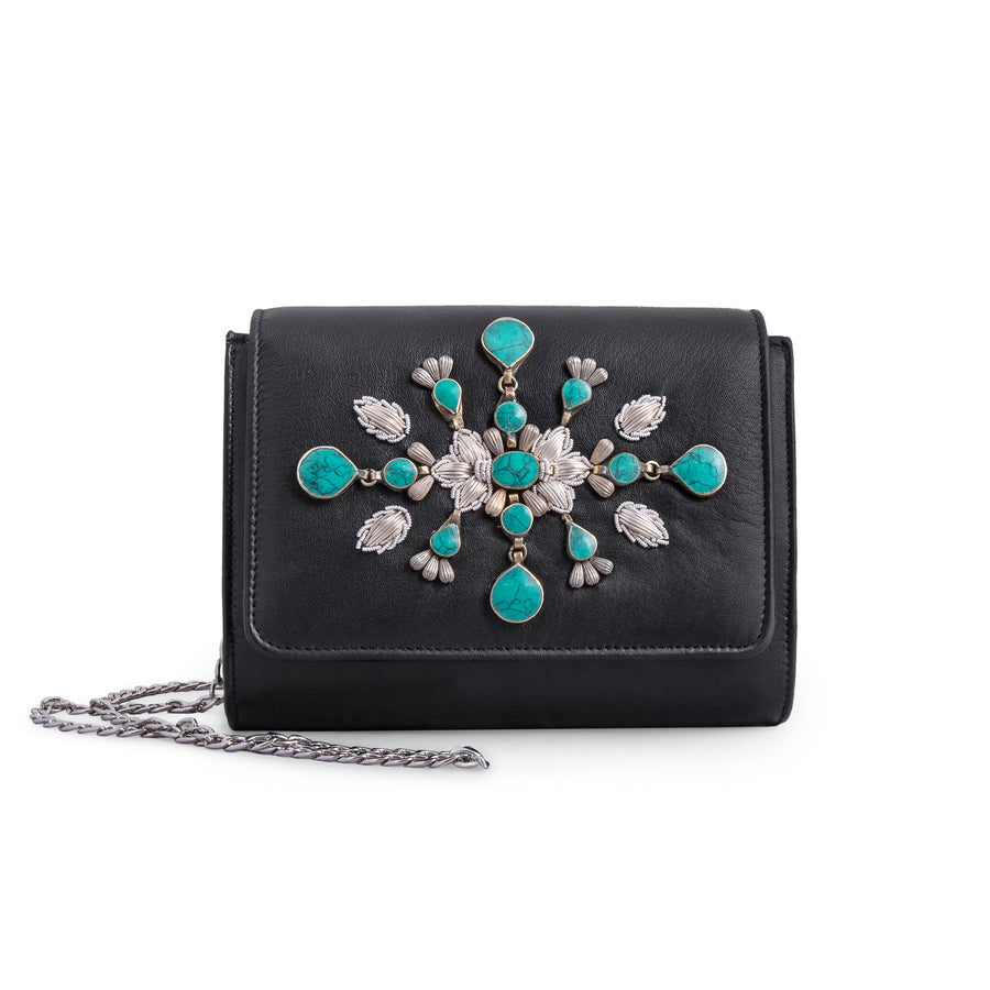 Black Leather Nightingale Clutch
