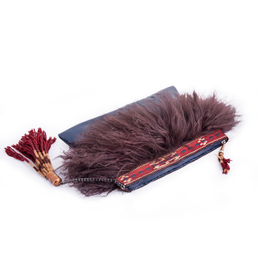Fluff Leather And Kilim Clutch