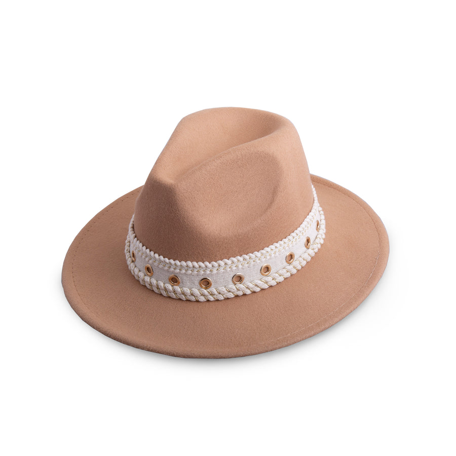 Camel Cream And Gold Lace Detail Fedora