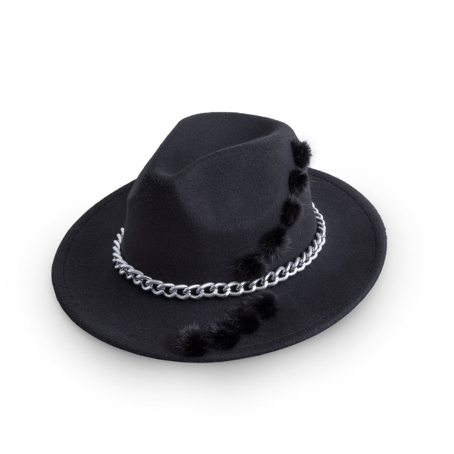 Black Pom Poms And Chain Fedora