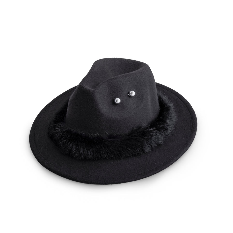 Black Fur And Round Pin Fedora