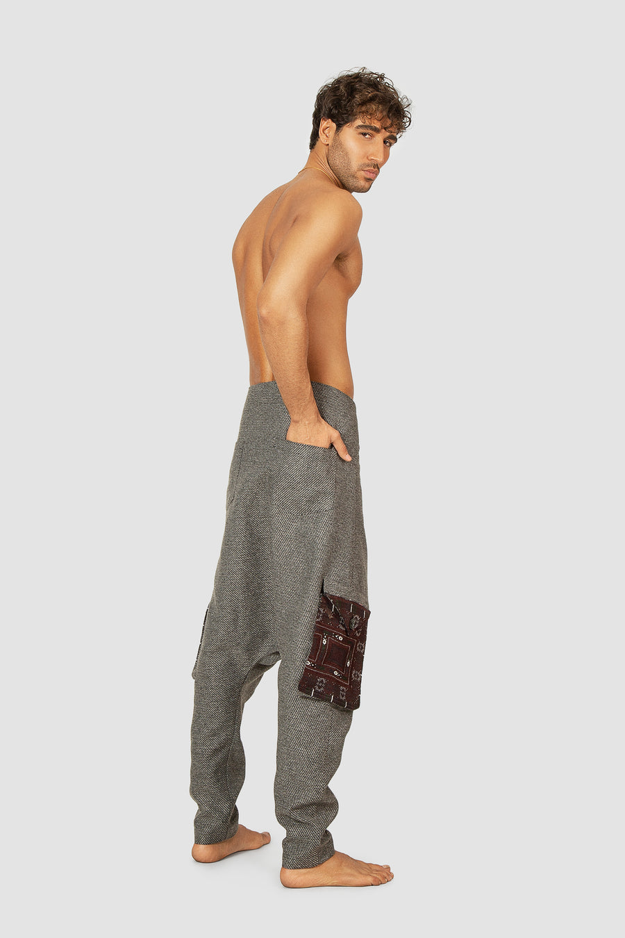Grey Crossover Waist Embroidered Harem Pants