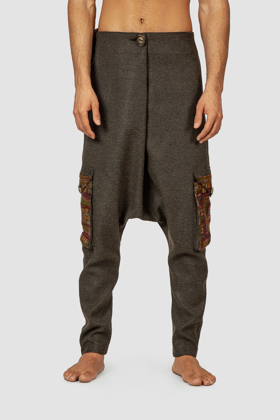 Charcoal Crossover Waist Embroidered Harem Pants