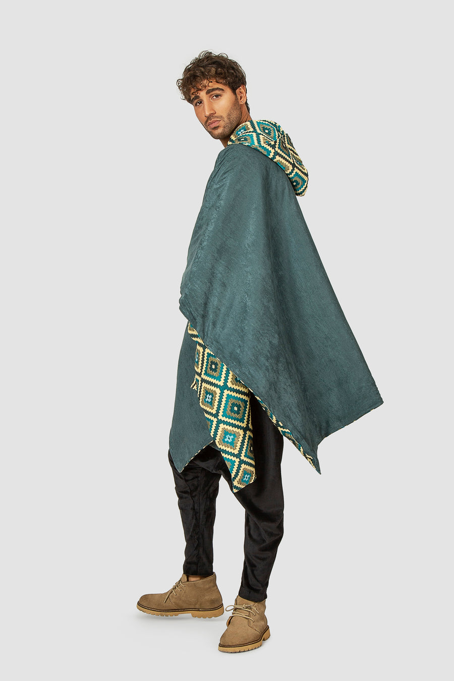 Reversible Medallion Peacock Poncho