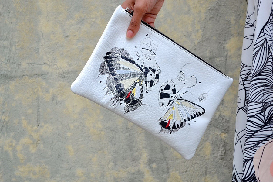 Butterfly Effect White Clutch