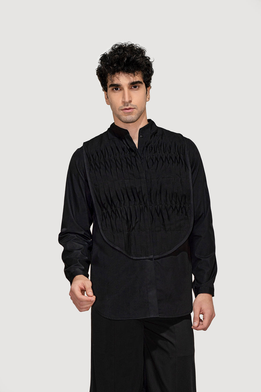 Pleated Collar Bib Shirt