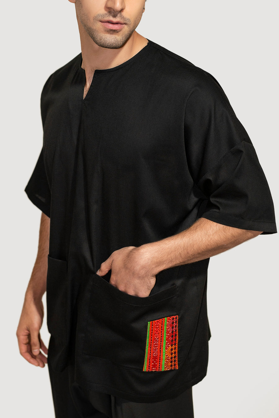 Black Embroidered Nomadic Pocket Shirt