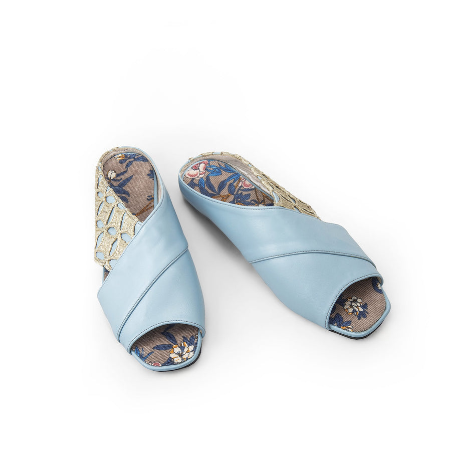 Blue Sermeh Embroidery Sandals