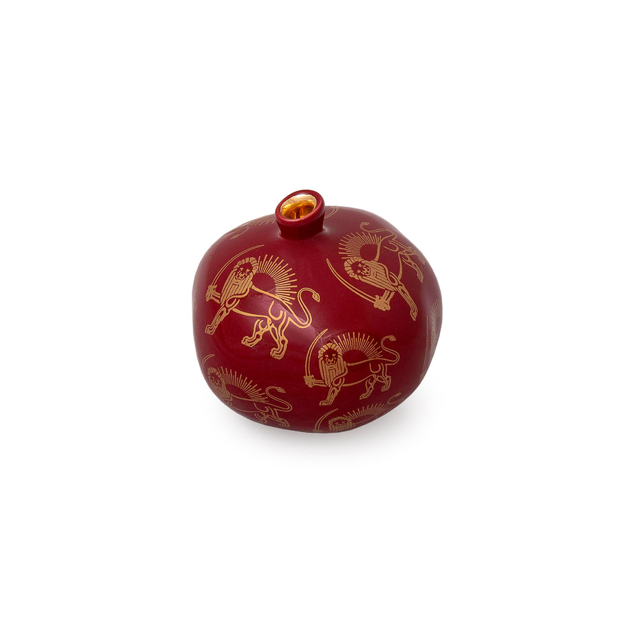 Crimson Pahlavi Royal Emblem Pomegranate Sculpture
