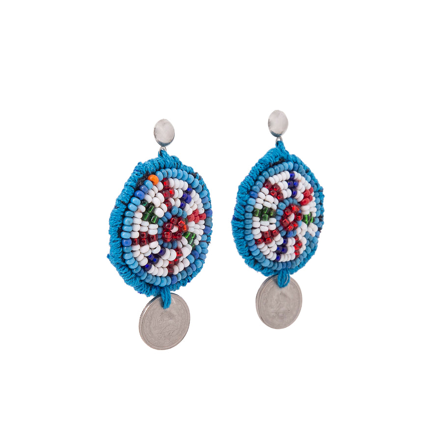 Beaded Coin Earrings