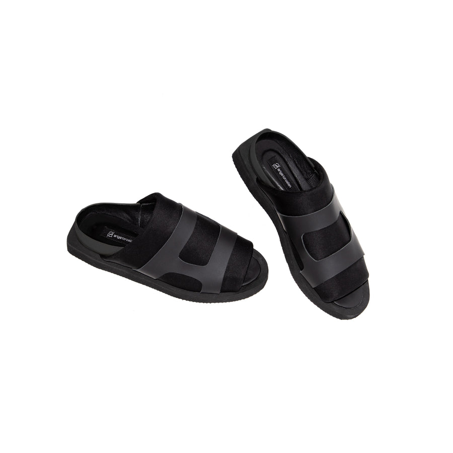 Black Wide Strapped Open Front Sandals