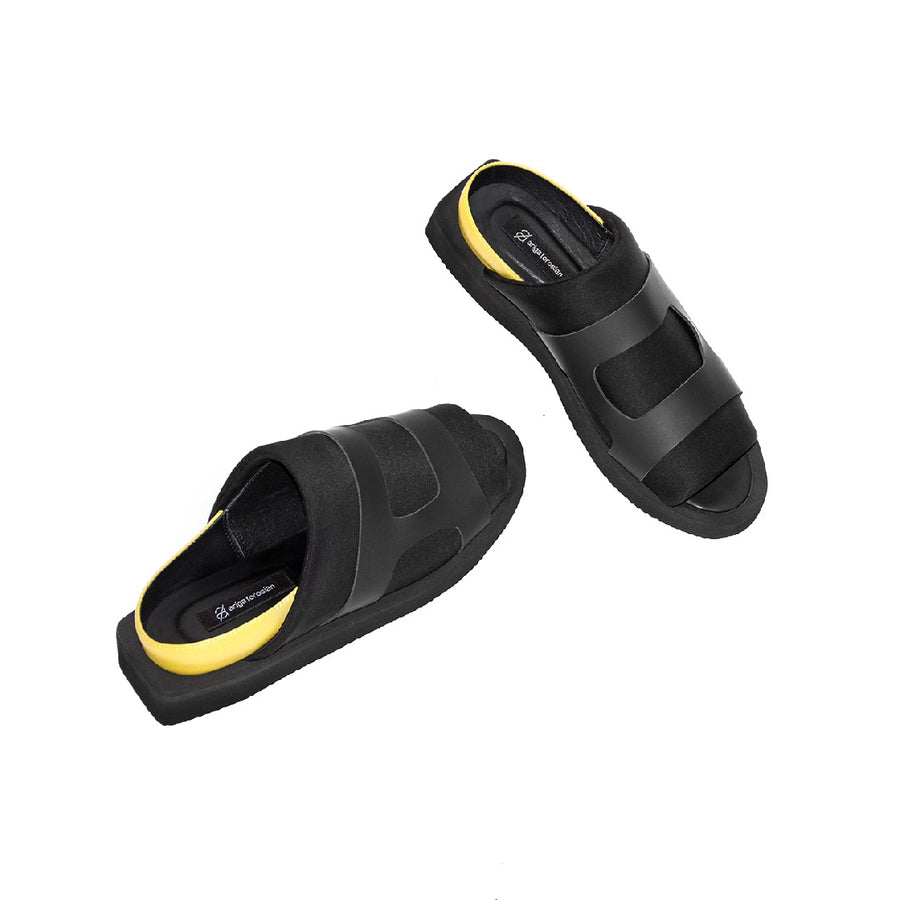 Yellow And Black Wide Strapped Open Front Sandals