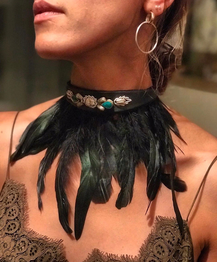 Black Swan Leather Embroidered Stone Choker/Belt