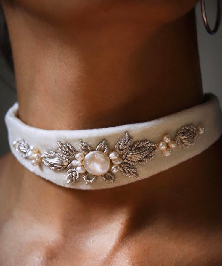 Bone Embroidered Precious Stone Choker/Belt