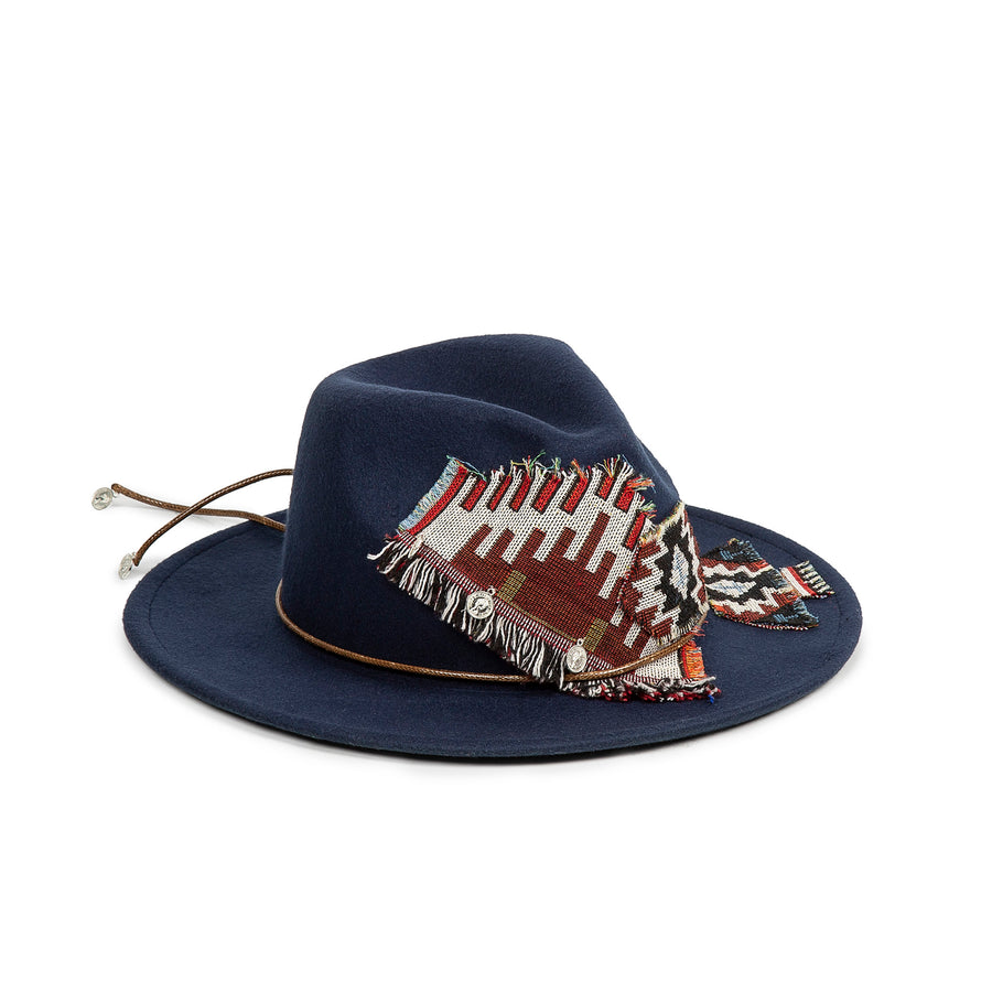 Flame Stitch Navy Fedora