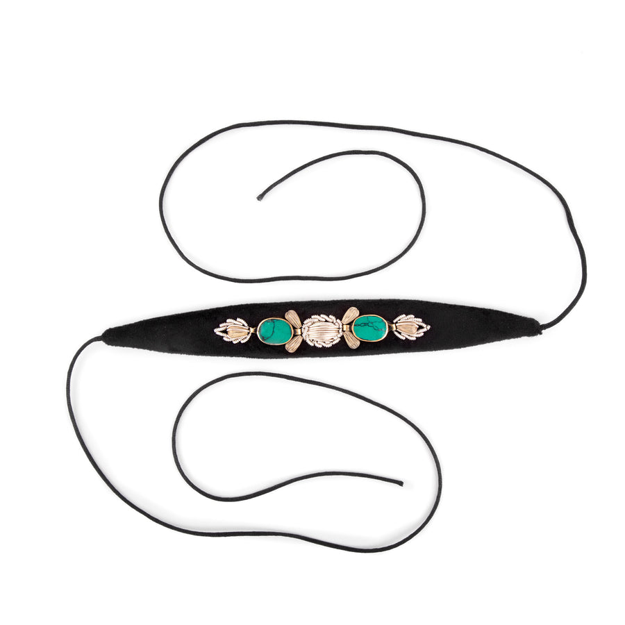 Sermeh Embroidery With Turquoise Stone Choker/Belt