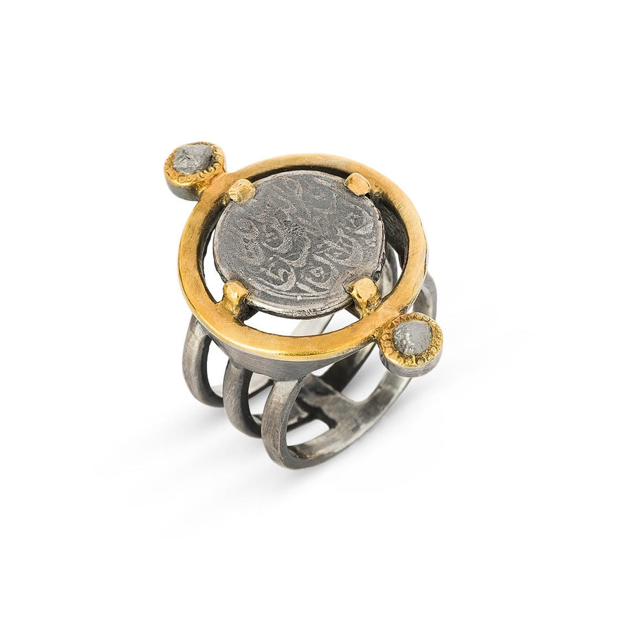 Natural Crystal Coin Ring