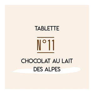 Tablette chocolat au lait des Alpes N°11 - Carré Suisse