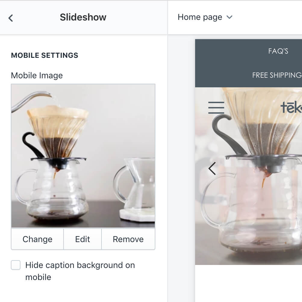 Add different slideshow images for mobile Shopify theme