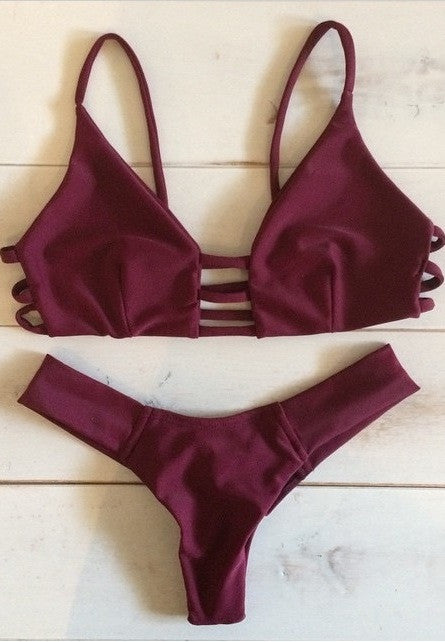 Montce Swim -  Cage Top / Uno Bottom Bikini Separates (Maroon)
