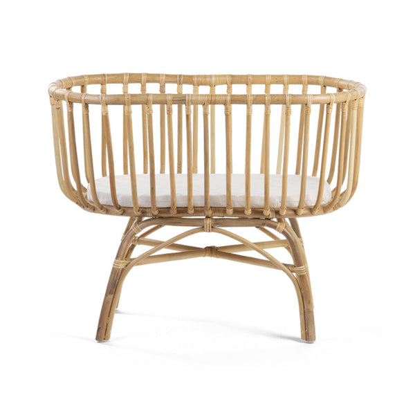Super smuk rattan vugge med madras 80 x 40 cm. - boombaby.dk