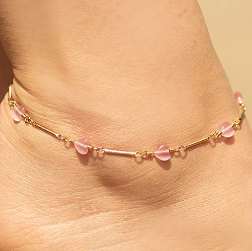 89a0c6de9 ... Lifetime Jewelry Ankle Bracelet for Women and Teen Girls   24k Gold  Plated Pink Hearts Anklet ...
