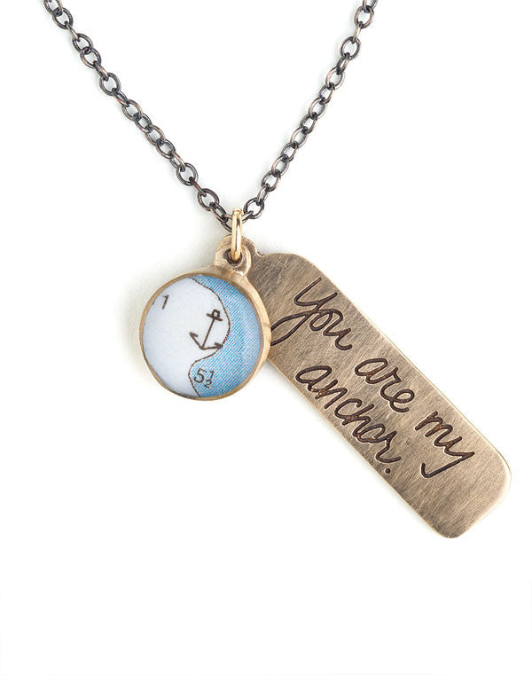 """You Are My Anchor"" Necklace - in Bronze"