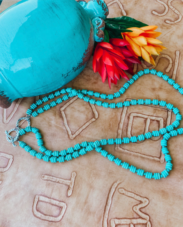 2 Strand Turquoise Disk Beaded Necklace