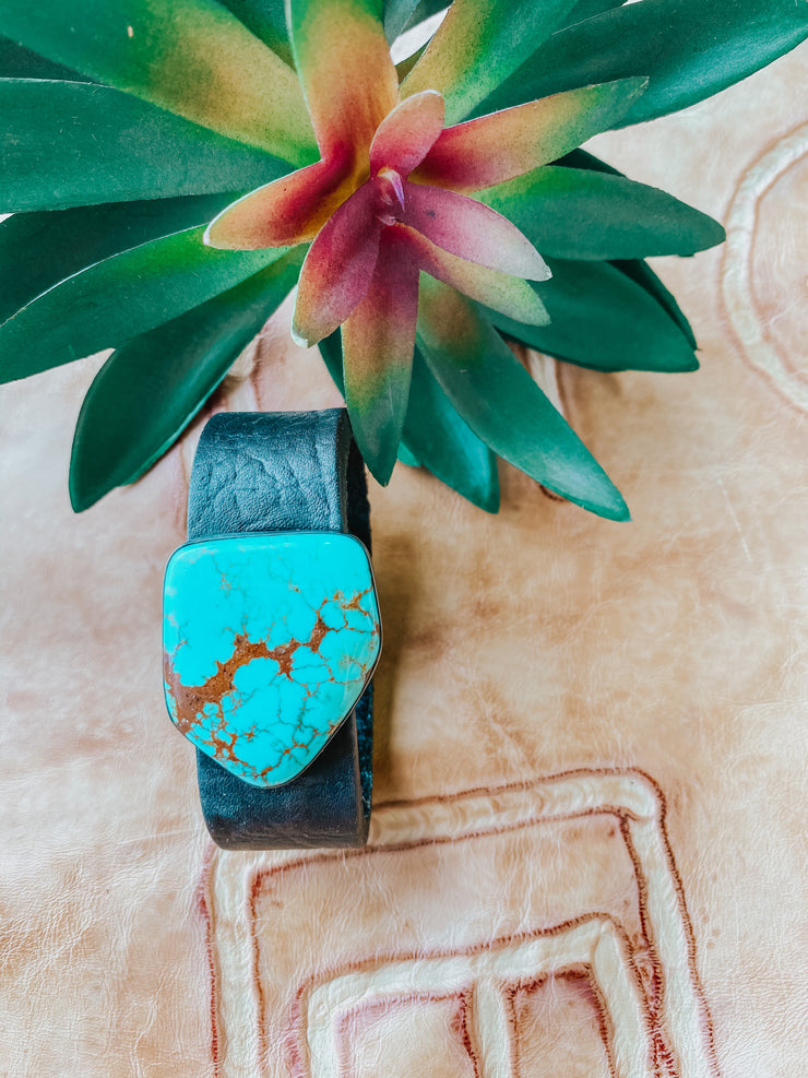 Kingman Turquoise Leather Bracelet #3