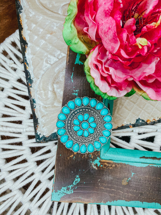 Round Burnished Silver and Turquoise Concho Pin