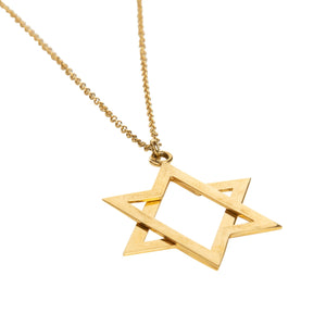 6 pointed star gold necklace close up