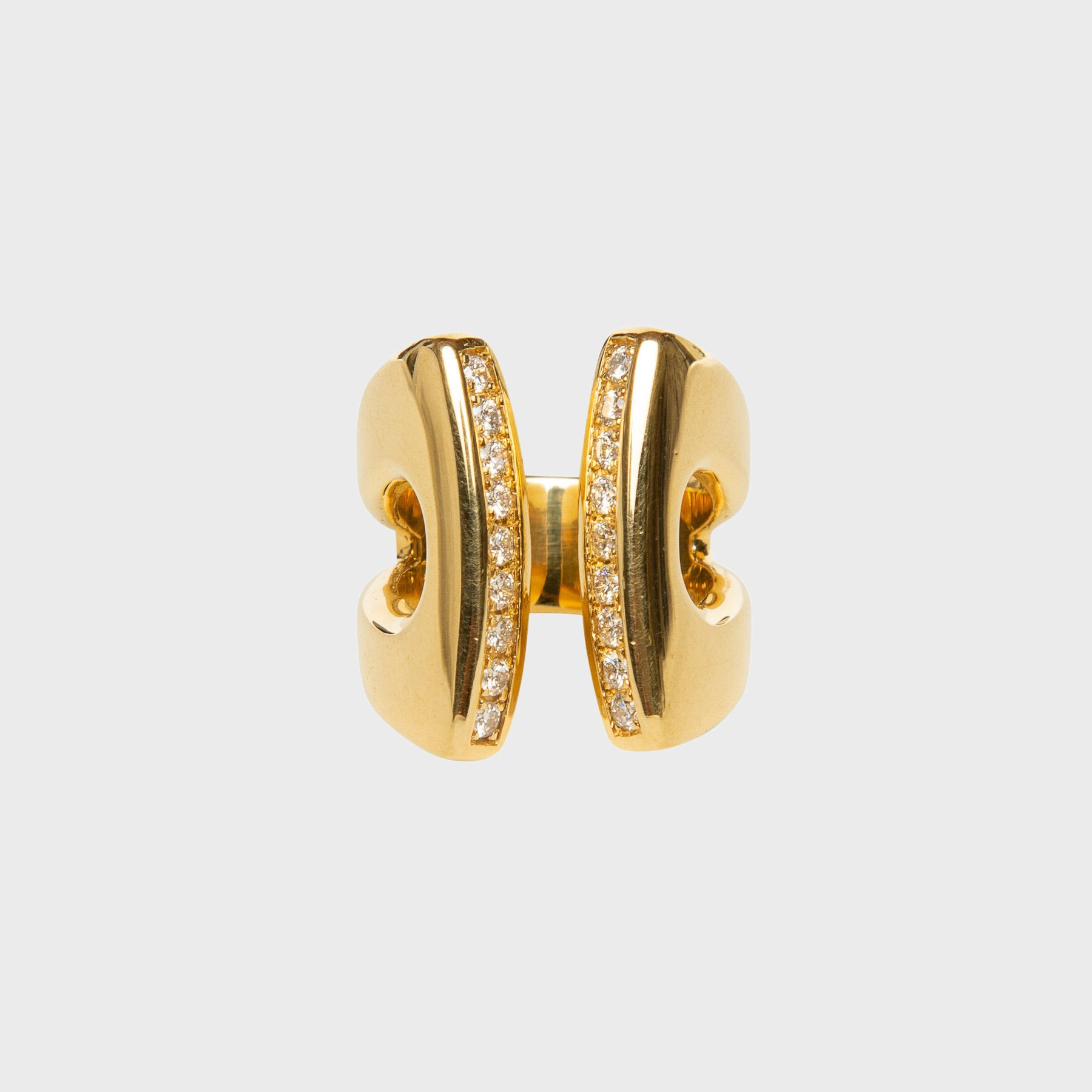 gold open band diamond ring