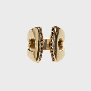 gold open band black diamond ring