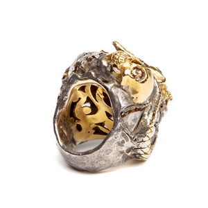 MAXFIELD COLLECTION | 1920'S  EXCEPTIONAL A. CODOGNATO GOLD SKULL AND DIAMOND ORBICULAR RING