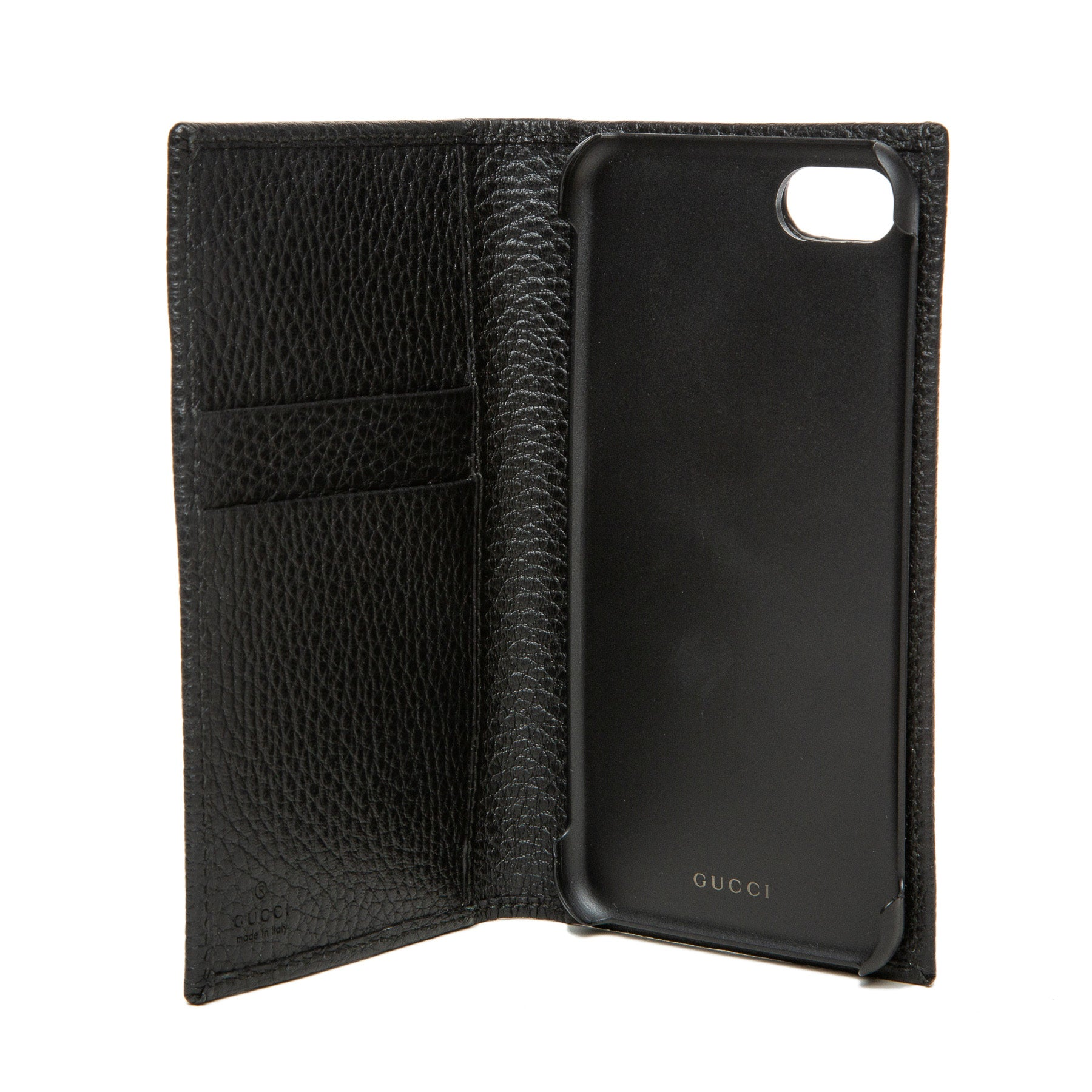 GUCCI | BLACK LEATHER CARD HOLDER AND PHONE CASE