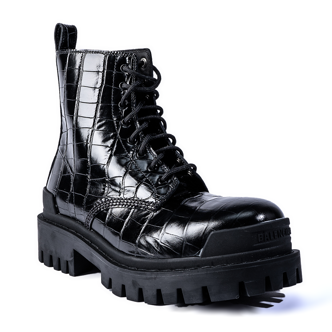 BALENCIAGA | STRIKE CROC-EMBOSSED LEATHER BOOTS