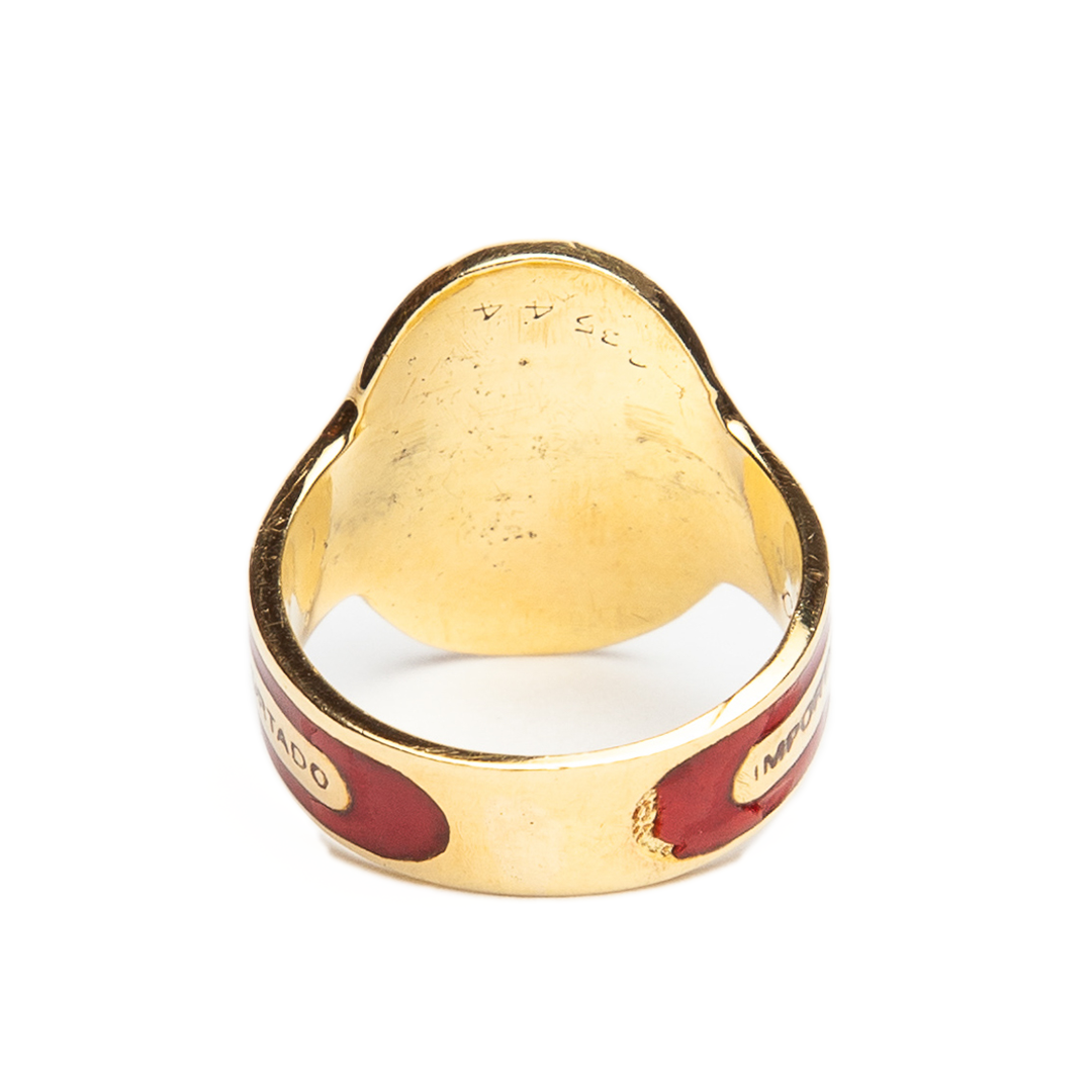 MAXFIELD PRIVATE COLLECTION | 1970'S  CARTIER 18K GOLD AND ENAMEL CIGAR BAND RING